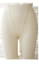 ハイウエストタイプのロングガードルでくびれたウエスト・立体的なヒップをつくります。挙式後にも使用しやすいデザインです。